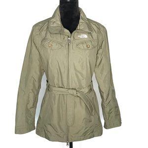 North Face sage green jacket with belt